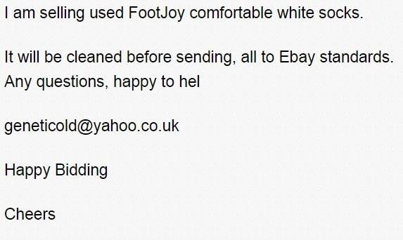欢乐青年在EBAY上卖二手袜子